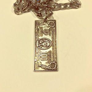 $100 Bill Benjamin Franklin Necklace Men Women